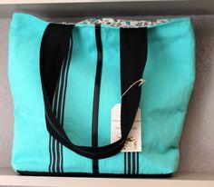 tote bag en toile coton, 3 petites rayures collection été 2014