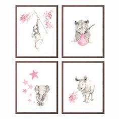 Baby Girl Nursery Art, Animal Nursery Decor, Wall Art for Girls, Monkey Nursery Prints, Orangutan, Rhino, Elephant, Lion, Four Prints - S443