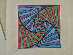 Using a square template, these designs are created using your finger as as spacer and a parabolic curve its formed! Illusion Kunst, Illusion Art, Op Art Lessons, 6th Grade Art, Art Optical, Math Art, School Art Projects, Middle School Art, Elements Of Art