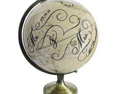 Push Pin Globe, Personalized Mr. and Mrs. Pushpin Travel Globe, Customized Wedding Push Pin Globe Art