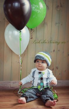 Baby Boy Tie Bodysuit or T-Shirt GET THE SET - Polka Dot Neck with Suspenders and Crocheted Hat
