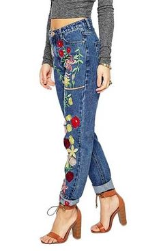 Specifications: Gender:Women Style:Fashion Closure Type:Zipper Fly Front Style:Flat Length:Full Length Fit Type:Regular Material:Polyester,Cotton Decoration:Embroidery,Pockets Pant Style:Straight Wais