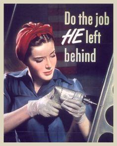 UNITED STATES WOMENS WAR EFFORT WWII JOB PROPAGANDA POSTER REAL CANVASART PRINT #Realism