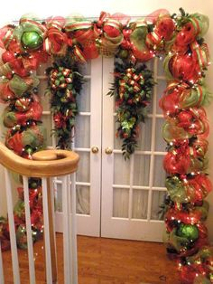making a deco mesh garland for around door Halloween Autumn - Google Search