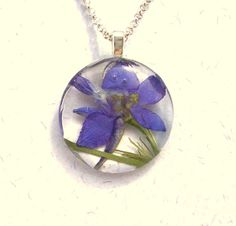 Purple Larkspur Glass Round Pendant Necklace by GardenGemsJewelry, $21.95