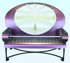 Tree of Life Purple Outdoor Steel Bench All my favorite things in one item! Lavender Blue, Purple Lilac, Shades Of Purple, Purple Art, Purple Furniture, Deco Furniture, Funky Furniture, Unique Furniture, Purple Chair