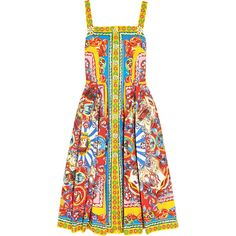 Dolce & Gabbana Printed cotton-poplin midi dress (€840) ❤ liked on Polyvore featuring dresses, yellow, cotton poplin dress, colorful dresses, multicolored dress, loose fit dress and multi-color dresses