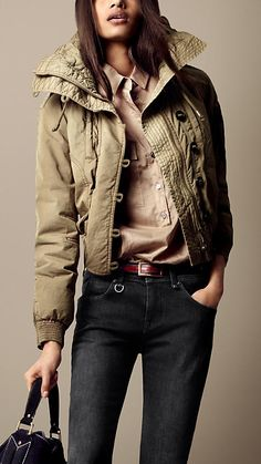 Burberry Brit Quilted Collar Oversize Jacket