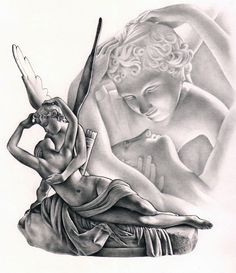 A drawing sculpture: Psyche Revived by Cupid's Kiss by Antonio Canova.