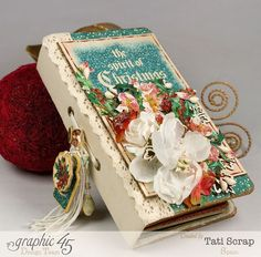 Grapic 45 - December Daily, Mini Album Christmas Carol, Product by Tati Scrap.  Tutorial and more pictures on their website.