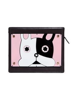 Cute boxy acrylic bag in the shape of mixtape cassette with cute french bulldog. Has shoulder strap and is lined. By Bpb.