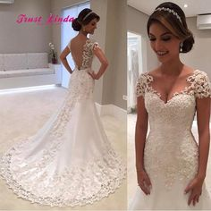 Vestido De Noiva White Backless Lace Mermaid Wedding Dresses 2018 V-Neck Short Sleeve Wedding Gown Bride Dress Robe de mariage Wedding Gowns With Sleeves, Wedding Dresses 2018, Bridal Dresses, Dresses Uk, Ugly Dresses, Bridesmaid Dresses, Prom Dresses, Short Dresses, Wedding Dressses
