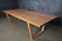 Recycled Messmate Angled U Base Table from Christian Cole Furniture Timber Furniture, Recycled Furniture, Rustic Furniture, Table Furniture, Kids Furniture, Furniture Design, Timber Dining Table, Custom Dining Tables, Dinning Table
