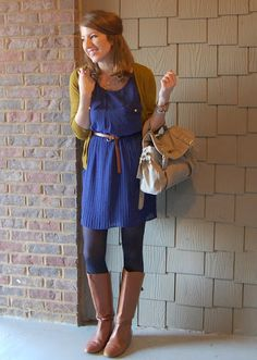 Blue dress + blue tights + brown boots + sub a brown or navy sweater