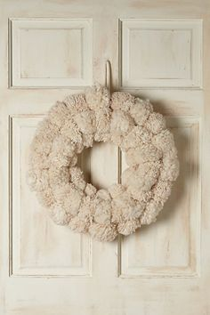 pom pom wreath (this is a buy but you could totally DIY - even though making pom poms takes foreverrrrr) Noel Christmas, All Things Christmas, White Christmas, Christmas Wreaths, Christmas Decorations, French Christmas, Modern Christmas, Vintage Christmas, Christmas Ideas