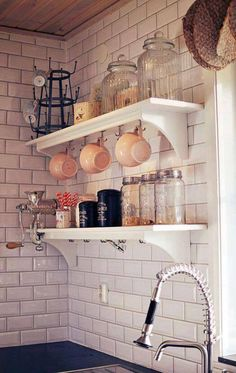 open shelving and white subway tile Kitchen Interior, New Kitchen, Kitchen Decor, Condo Kitchen, Decorating Kitchen, Kitchen Tiles, Design Kitchen, Home Modern, Condo Living