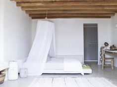Neo rustic bedroom | Private Residence in Mykonos. Interior Design by Marilena Rizou. Photo by Gaelle le Boulicaut