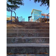 Love Message on Steps at Falls Park in Greenville, SC.