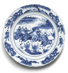 Chinese large blue and white dish, Qing dynasty, Kangxi period.