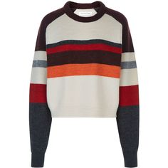 Isabel Marant Étoile Burgundy Wool Dinky Oversized Knit (€285) ❤ liked on Polyvore featuring tops, sweaters, burgundy sweater, stripe sweater, wool sweaters, white long sleeve sweater and knit sweater