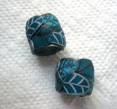 Dread Perlen Teal Set von 2 gewünschten Lochgröße