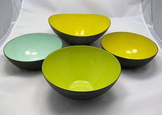 KRENIT Bowl SET Enamel Denmark Herbert by RetroRobinModern on Etsy, $225.00