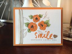 Altenew Painted Flowers using SU Pumpkin Pie and Tangelo Twist. PTI Wet Paint sentiment. Lawn Fawn Stitched Rectangles, natural twine and wood heart veneer.