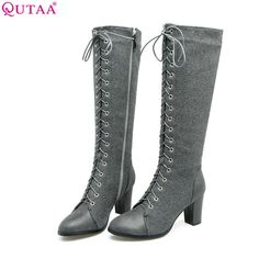 061544dada39 QUTAA 2018 Fashion Lace Up Women Knee High Boots All Match Round Toe Pu  Leather Square