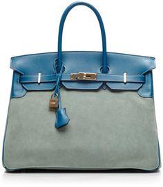 Hermes 35cm Blue De Galice Ciel Veau Doblis Birkin