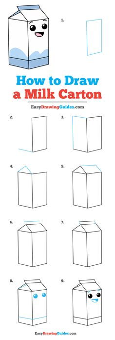 Easy Drawings - Learn to draw a milk carton. This step-by-step tutorial makes it easy. Kids and beginners alike can now draw a great looking carton of milk. Cute Easy Drawings, Art Drawings For Kids, Kawaii Drawings, Doodle Drawings, Drawing For Kids, Food Drawing Easy, Milk Drawing, Drawing Tips, Learn Drawing