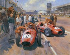 Mike Hawthorn and Peter Collins, Ferrari Dino Silverstone, British GP 1958 (Alan Fearnley). Ferrari F1, Course Vintage, Cool Car Drawings, Classic Race Cars, Vintage Race Car, Automotive Art, Car Painting, Car Wallpapers, Courses