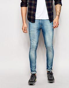 Blue Skinny Jeans, Super Skinny Jeans, Skinny Fit, Tight Jeans Men, Superenge Jeans, Models, Stretch Denim, Denim Men, Asos Uk