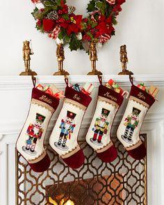 Nutcracker Needlepoint Christmas Stockings by Peking Handicraft at Horchow. Cross Stitch Christmas Stockings, Christmas Cross, All Things Christmas, Christmas Themes, Christmas Decorations, Christmas Ornaments, Peking, Holiday Fun, Holiday Decor
