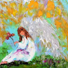 Original oil ANGEL with Flowers painting by Karensfineart