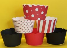 Cupcake Wrappers in Red Black and White Perfect by SWEETSINCLAIRS, $5.00