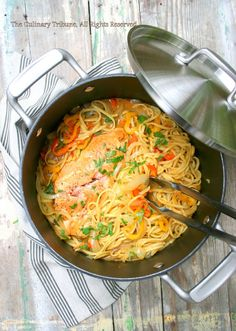 One Pot Salmon Coconut Curry Pasta