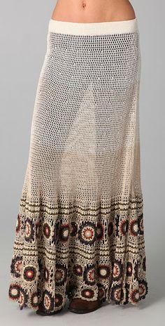 Free People. Crochet Maxi Skirt.