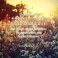 De modo que si alguno está en Cristo, nueva criatura es; las cosas viejas pasaron; he aquí todas son hechas nuevas.  2 Corintios 5:17 RVR1960