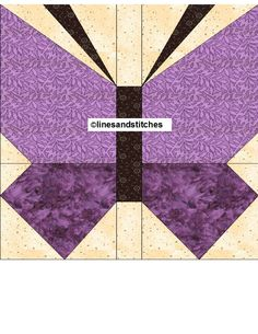 Butterfly Paper Piecing Quilt Block Pattern PDF by purpleblock