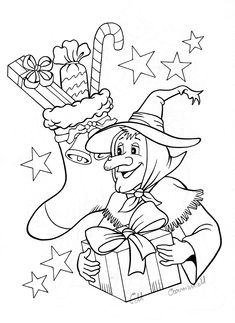 Merry christmas with the befana the italian tradition in for La befana coloring page