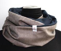 Schlauchschals - Loop Fischgrät/dunkelblau für den Mann - ein Designerstück von FrolleinAnne-Anne bei DaWanda
