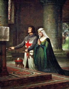 "Pre-Raphaelite-loose assoc Leighton, Edmund Blair > 1922 UK, painter medieval/regency theme) ""The Dedication"" private coll. Renaissance Art, Medieval Art, Medieval Knight, Medieval Times, Pre Raphaelite Paintings, Art Ancien, Knight In Shining Armor, Knights Templar, Classical Art"