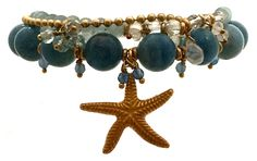 Bead Bracelets with Gold Starfish Charms and natural blue gems for happier relationships.