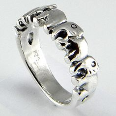 Four row elephant band 925 sterling silver solid by jewelkingthai