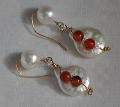 Pearl Earrings. Wire wrapped Earrings. Gold by JunrylGems on Etsy