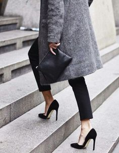 Ankle-length skinnies with black pumps - sophisticated desk to dinner look