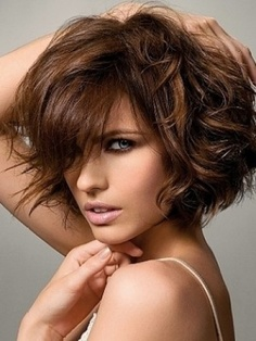 Beautiful medium length messy hairstyle