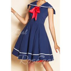 Vintage Sailor Collar Ruffled Stripe Bow Tie Sleeveless Dress For Women
