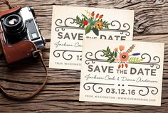 Woodland Vintage Save-the-Date Postcard; vintage, floral, country, rustic, weathered by studiofortydesign on Etsy https://www.etsy.com/listing/225383102/woodland-vintage-save-the-date-postcard