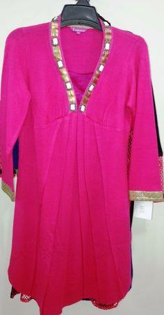Indian Ethnic Beautiful Traditional Bollywood woollen tunic short new pink kurti